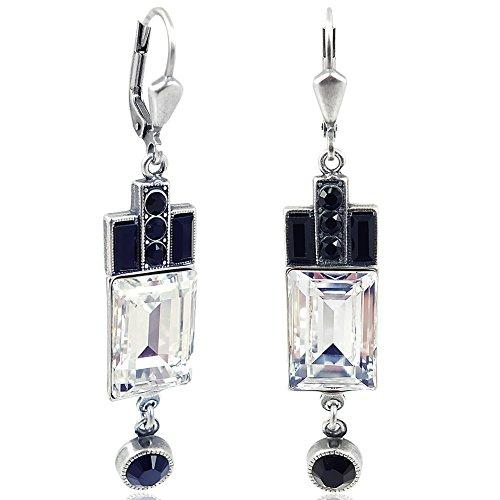 Artdeco Ohrringe Swarovski® Kristalle Silber Schwarz Weiß NOBEL SCHMUCK (Schwarz Weiß Schmuck)