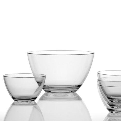 Leonardo Schalenset Active, 5-teiliges Set, 1 große Schale 3,35 l und 4 Schälchen 630 ml, Klarglas, 020585 -