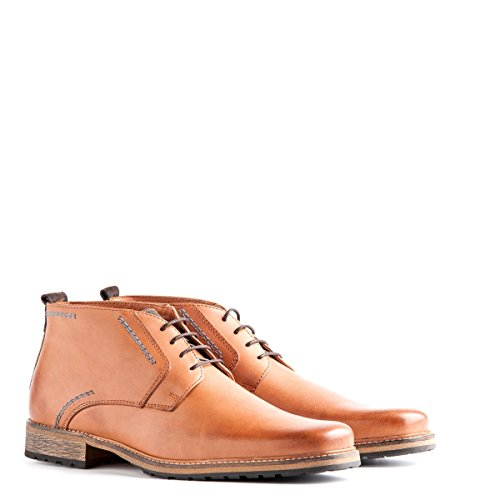 Travelin' London Leder Chukka Boots - Business Schuhe mit Schnürsenkel - Cognac EU 44 -