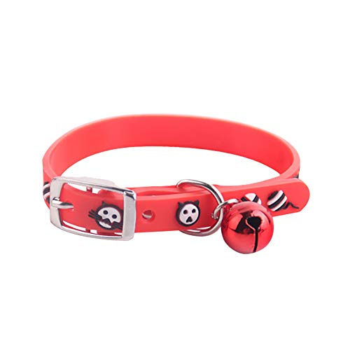 gfjhgkyu Verschleißfest,weich und bequem,Bell Puppy Dog Cat Bell Adjustable Necklace Pet Collar Kitten Chain Neck Band Strap-Red (Collar Band Red)