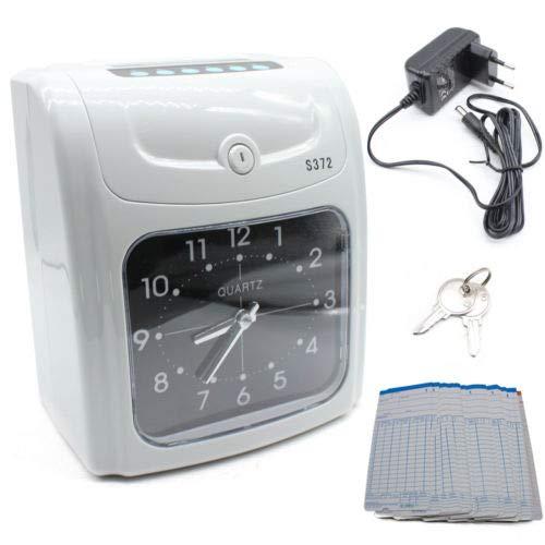 BTdahong Zeitschreiber Stechuhr Arbeitszeiterfassung Maschine + 50 Stempelkarten + 2 Stück Schlüssel, LCD Mitarbeiter Zeiterfassung Maschine