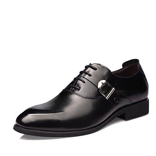 GRRONG Herren-Leder-Schuhe Geschäfts-formales Kleid Schwarz Black
