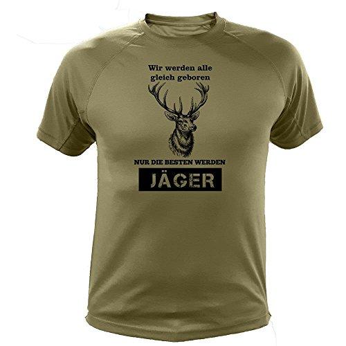Jäger T Shirt, Hirsche, Vir Werden alle gleich geboren, Jagd Geschenke (20149, Grun, L)