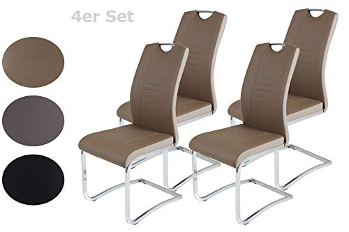 Latte-stühle (4er Set Schwingstuhl Tabea, Kunstleder Latte-Cappuccino, Griffloch, Metallgestell Chrom, 43 x 61 x 99 cm)