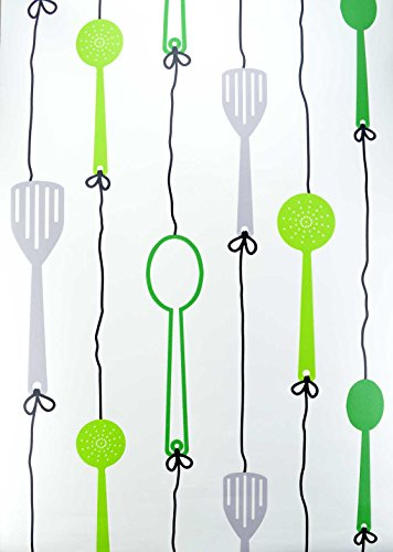 kitchen-utensil-white-green-black-feature-wallpaper-expanded-vinyl