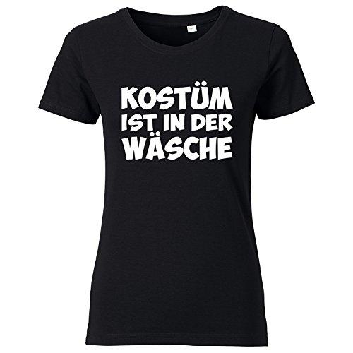 (ShirtWorld Kostüm ist in der Wäsche - Damen T-Shirt Schwarz L)