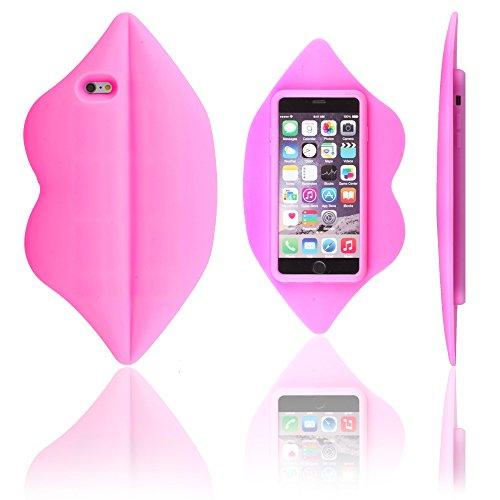 Xcessor Lips Labbra Silicone Custodia per Apple iPhone 6 Plus e 6S Plus. Rosa Caldo