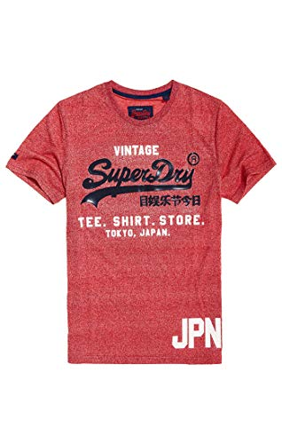 Superdry Shirt Shop Duo Tee, Rosso (Tag Red Grit Ktx), Large Homm