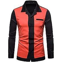WWricotta Camisa Formales Negocio para Hombre Manga Larga Slim Fit Color de Hechizo Otoño Invierno Camisetas