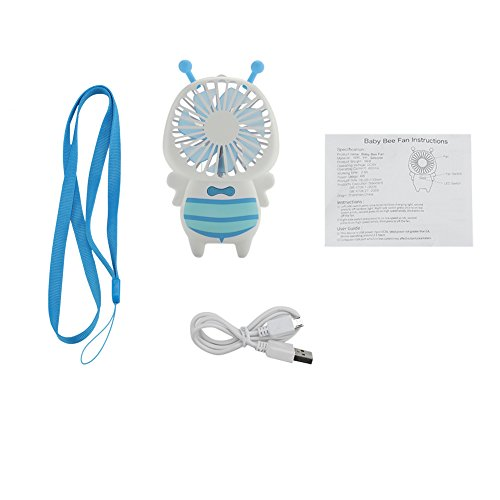 Tonysa Bienen Stil Mini Tischventilator,Tragbarer Lüfter,USB Wireless Handheld Fan für Büro/Wohnzimmer,Kompatibel mit 2-stufiger Windstärke/7 Flügel/atmungsaktiven LED Gradientenleuchten(Blau)