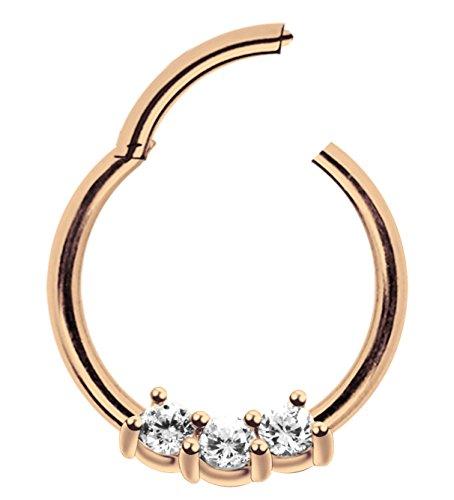 Modern Nature Piercingschmuck Piercing Ring Smooth Segment Clicker mit Stein, PVD Rose Gold in 1,2 x 7 mm