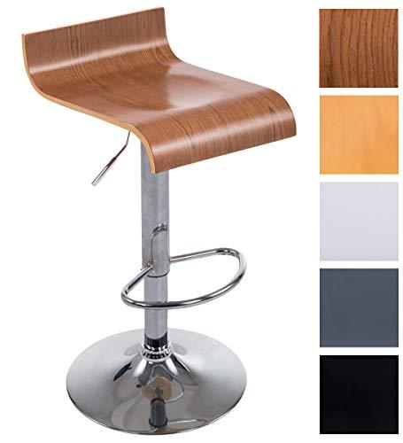 CLP Barhocker WOOD mit Metallgestell und Holzsitz I Höhenverstellbarer drehbarer Barstuhl mit Fußstütze I In verschiedenen Farben erhältlich walnuss