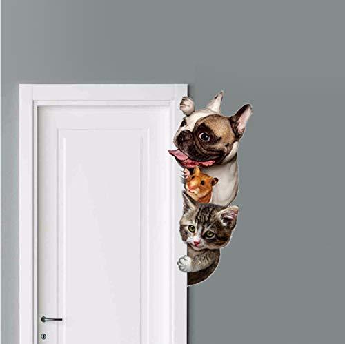 3D Wandaufkleber für Hunde Katzen und Katzen, Aufkleber, lustige Tür Fenster für Möbel und Wände, Cartoon Tier Vinyl Aufkleber zu dekorieren