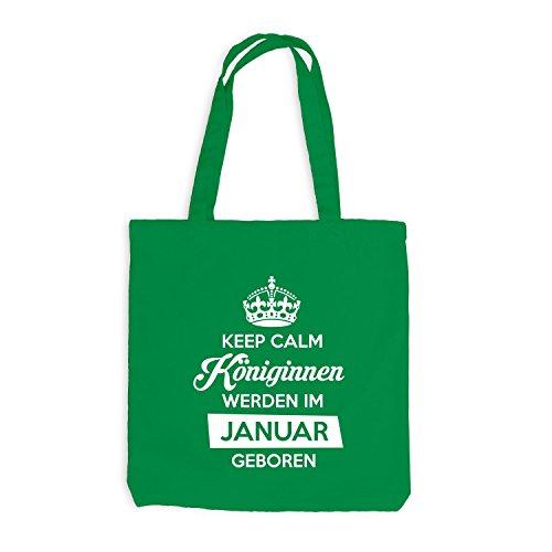 Jutebeutel - Keep Calm Königinnen JANUAR geboren - Birthday Geburtstag Kellygrün