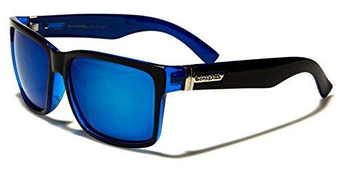 Nuevo Biohazard de diseño clásico Hombres Mujeres Unisex reflejado Gafas de Sol deporte conducción gratis BeachHutSunglasses Microfibra Bolsa (Negro/azul/azul lentes)