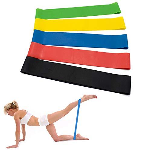 pinkfishs 5 pz resistenza bande elastico fitness elastici sport esercizi tirare corda con borsa di stoccaggio -