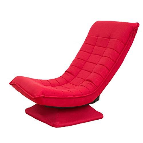Drehklappstuhl Stoff Rückenlehne Faul Mittagspause Freizeit Indoor Sofa Balkon 4 Farben 65 * 87cm MUMUJIN (Color : Red)