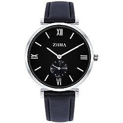 ZHHA Men's S001 Classic Quartz Wrist Bracelet Black Leather Waterproof Watch