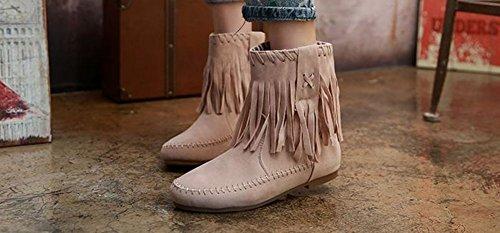 Wealsex Bottes Plates Suédé Automne Hiver Tassel Boots Femme Beige