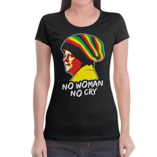 Coole Jamaika Merkel in Reggae Mütze - No Woman No Cry Damen T-Shirt Slim Fit X-Large Schwarz (Slim-fit-grafik)