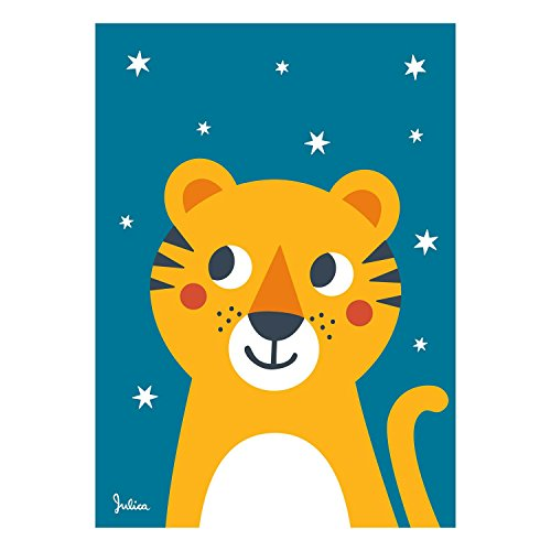 Julica Design Poster Kinderzimmer | Sterne Nachtleuchtend | Tiger | Wand-Bild | Wand-Deko für Kinder und Baby-Zimmer | Größe 50 X 70