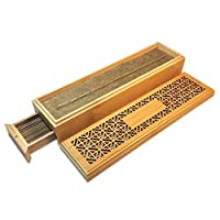 Incense Bamboo Wood Burner for Stick Incense Box with Drawer