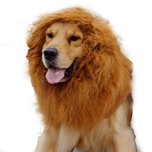 Newin Star 1 Stück Löwenmähne Perücke Phantasie Kostüm für große Hunde & Katzen für Halloween & Cosplay Parteien (Dunkelbraun)