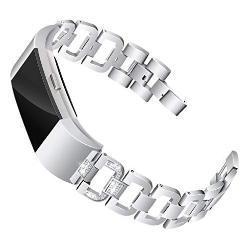 Waotier für Fitbit Charge2 Armband Damen Edelstahl Armband Diamant Strasssteine Armband Verstellbare Ersatzarmband Damen Uhrenarmband Armband für Fitbit Charge 2 Armband mit Schnellverschluss (Silber) (Zubehör Fitbit Puls)