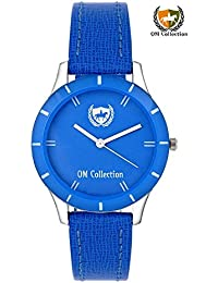 Om Collection Presents Beautiful Analog Blue Dial With Blue Leather Strap Women And Girls Watch_omwt-37