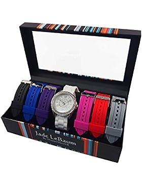 Damen Armbanduhr-Set mit auswechselbare Sieben Silikonband Silvertone Kristall Lünette Designer inspiriert Jade...