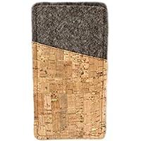 Handyhülle aus Filz und Kork natur/gold, passend für Samsung Galaxy S6, S6 Edge, S7, Sony Xperia X und Huawei P8 lite