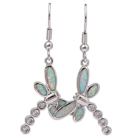 Top Quality 925 sterling silver jewelry White Opal & White topaz fashion Dragonfly earrings for women