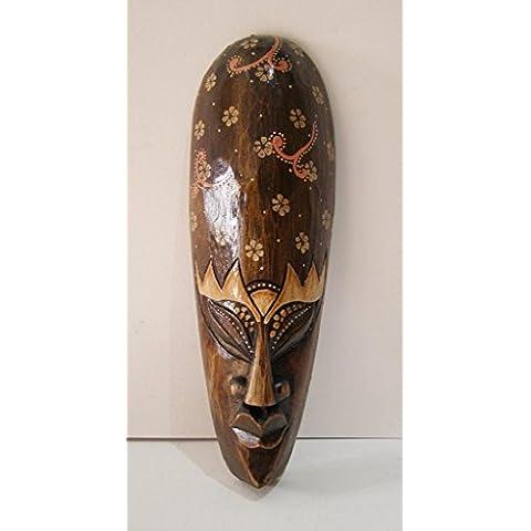 Maschera africana, motivo floreale intagliato a mano in legno 30cm da appendere alla parete