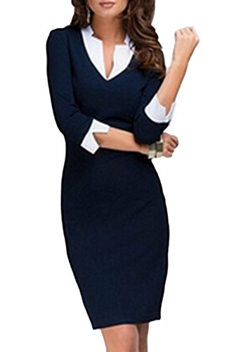 womens-elegant-patchwork-bodycon-office-dress-blue-s