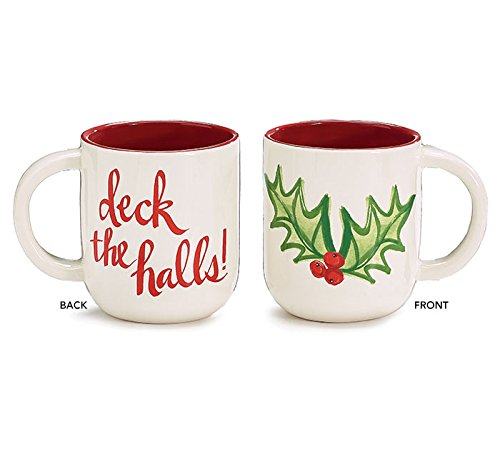 Burton und Burton Deck The Halls Holly Leaf Kaffeebecher aus Keramik, 16 oz Holly Keramik
