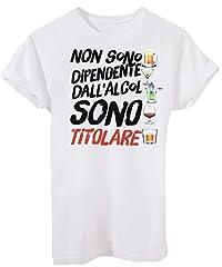 Idea Regalo - iMage T-Shirt Alcol Dipendente Birra - Divertenti - Uomo-M-Bianca