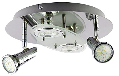 Trango 4-flg.TG3088 LED Design Badleuchte Deckenleuchte Deckenlampe in Rund inkl. 4x GU10 LED Leuchtmittel direkt 230V