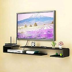Étagère TV murale Étagère murale Étagère flottante Set top box routeur lecteur de DVD TV plateau de stockage de contrôle à distance étagère d'affichage multifonctions