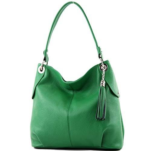 modamoda de - T185 - ital. Damen Schultertasche aus Leder, Farbe:Blattgrün -