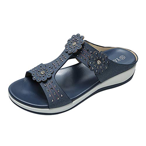 Makefortune  Damen Kunstleder Ausgeschnitten Sommer Slip On Lightweight Low Wedge Mule Sandalen Schuhgröße 4-7 (Pastell Converse Schuhe)