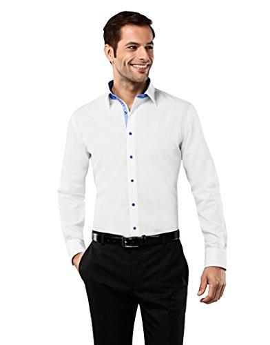 Vincenzo Boretti Herren-Hemd bügelfrei 100% Baumwolle Slim-fit tailliert Uni-Farben - Männer lang-arm Hemden für Anzug Krawatte Business Hochzeit Freizeit weiß/hellblau 39/40