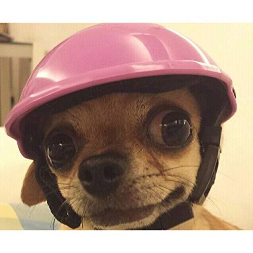 Volwco Cool Pet Dog Casco Equitazione Cappello Carino Cucciolo Cosplay Moto Casco Sole Pioggia Protezione per Piccoli Cani Animali Domestici Morbido Imbottito Sicurezza (S/M/L, Rosa Nero)
