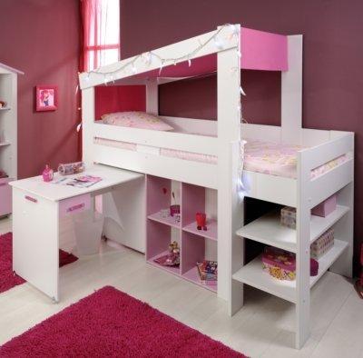 Verkauf Mädchen Kinderzimmer-Hochbett 90x200 mit Schreibtisch Weiss ...