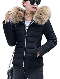 16d086a1017f Ghope Damen Warm Wintermantel Kurz Winterjacke Dick mit Pelz Kapuze Slim Fit  Outwear Baumwollkleidung Reißverschluss Parka…