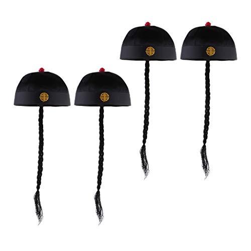 Chinese Oriental Kostüm - B Baosity 4 Stü Erwachsene Männer Schwarz Chinese Oriental Cap Mit Pferdeschwanz Party Kostüm Hut
