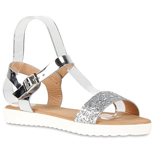 Damen Komfort-Sandalen Metallic Sandale Bequemschuh Profilsohle Silber Schnalle Lack