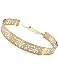 Satyam Kraft 1 Pcs Celebrity Inspired Adjustable metal plate type golden belt for Diwali Gift Special Golden Diva Golden Skinny Metal Belt For Women/Girls Belt ladies belt