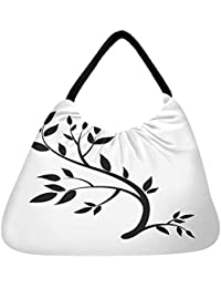 Snoogg Design Element Graphic Drawing Of A Brunch With Leaves Beach Tote Shopper Bag Handbag Shoulder