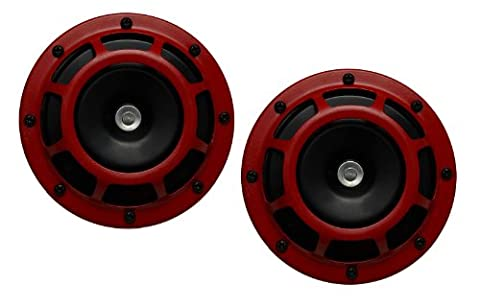 DUAL Super Tone LOUD Blast 139Db Universal Euro RED ROUND HORNS (Quantity 2) High Tone / Low Tone Twin Horn Kit with Bracket Pair Compact - Extremely LOUD for Car Bike Motorcycle Truck for Volkswagen VW Jetta VW 181 Thing Amorok Beetle Caddy Corrado Dasher Eos Fox Gol Saeiro Parati Fox CrossFox Sacefox Gold Rabbit Caribe Golf Plus Jetta Bora Vento Karmann Ghia Lupo New Beetle Passat Quantum Phaeton Polo Scirocco Sharan SP2 Tiguan Toureg Touran Transporter Caravelle Microbus Vanagon Eurovan Type