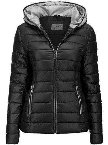 S'West Damen Jacke Steppjacke ÜBERGANGSJACKE Kapuze GESTEPPT Winterjacke Skijacke, Farbe:Schwarz, Größe:M (Gesteppte Jacke Frauen Schwarz)